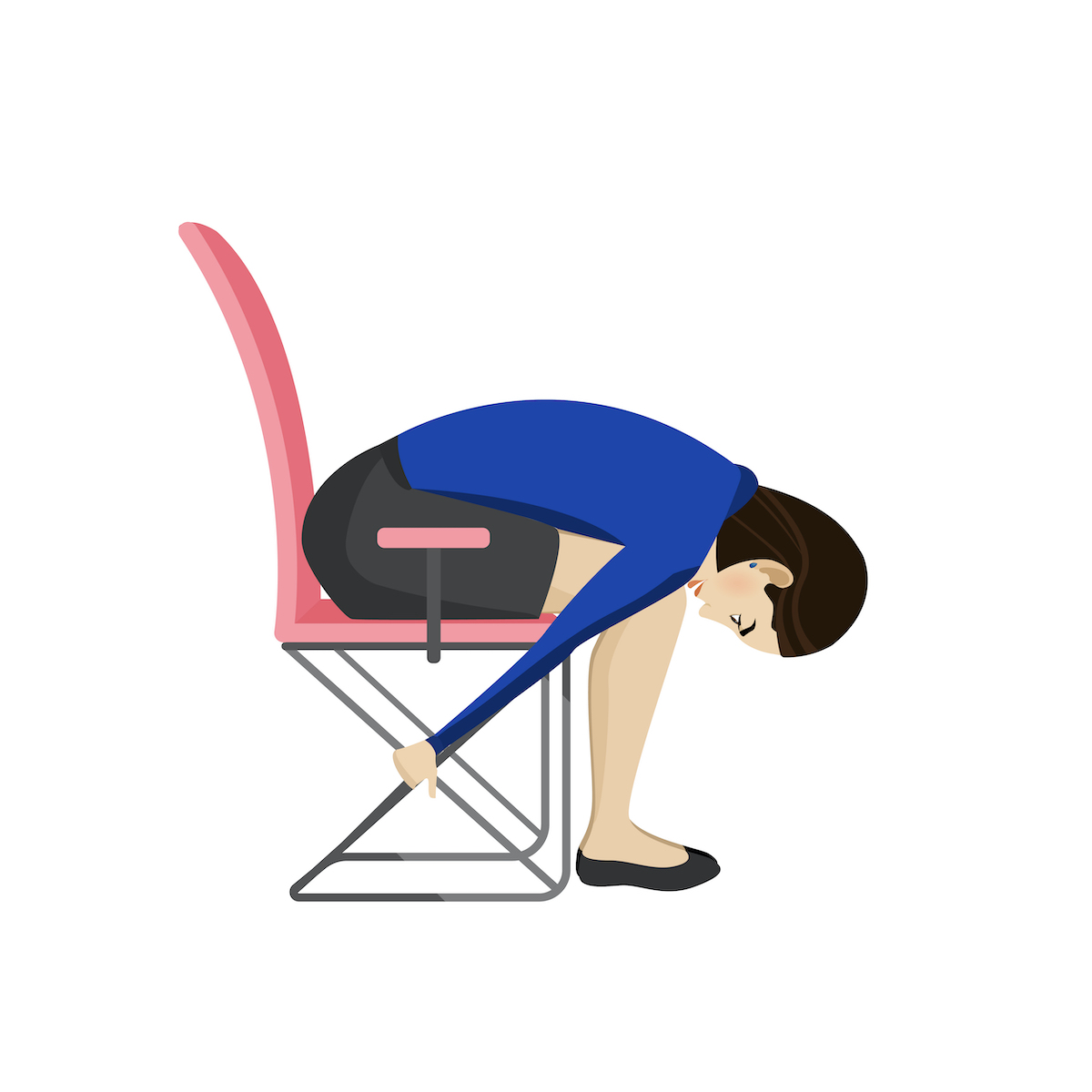 drawing of woman doing back stretch in chair