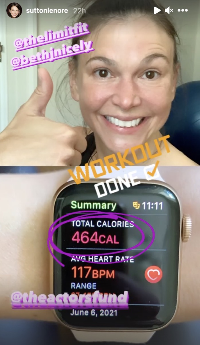 sutton foster giving a thumbs up and showing apple watch workout summary