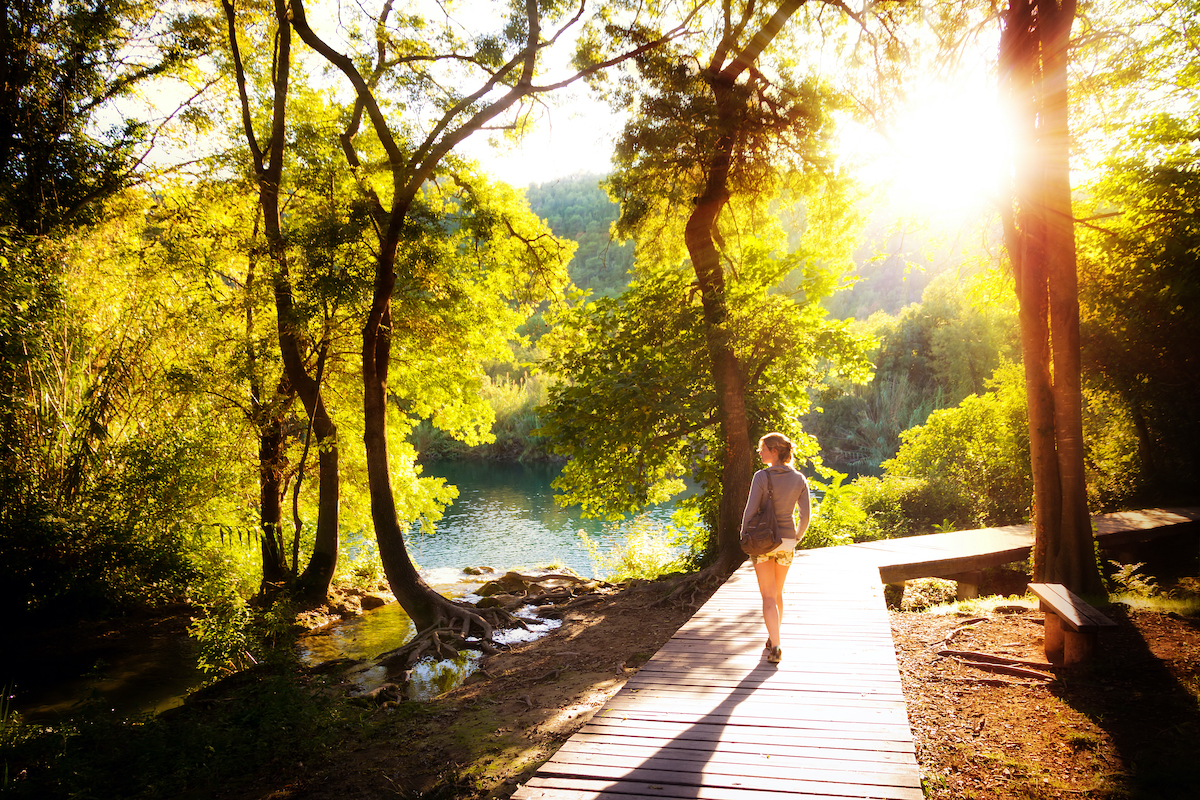 woman taking a walk in nature