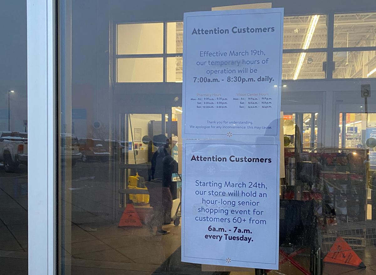 Walmart senior hours sign