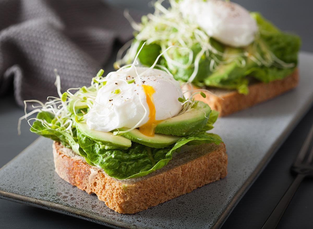 avocado toast eggs sprouts