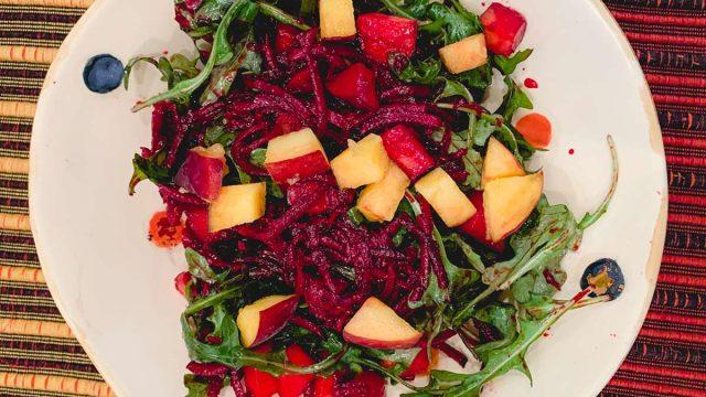 beet arugula peach salad
