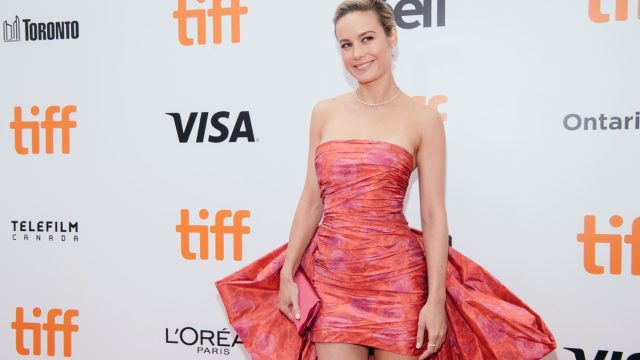 brie larson in pink dress on red carpet