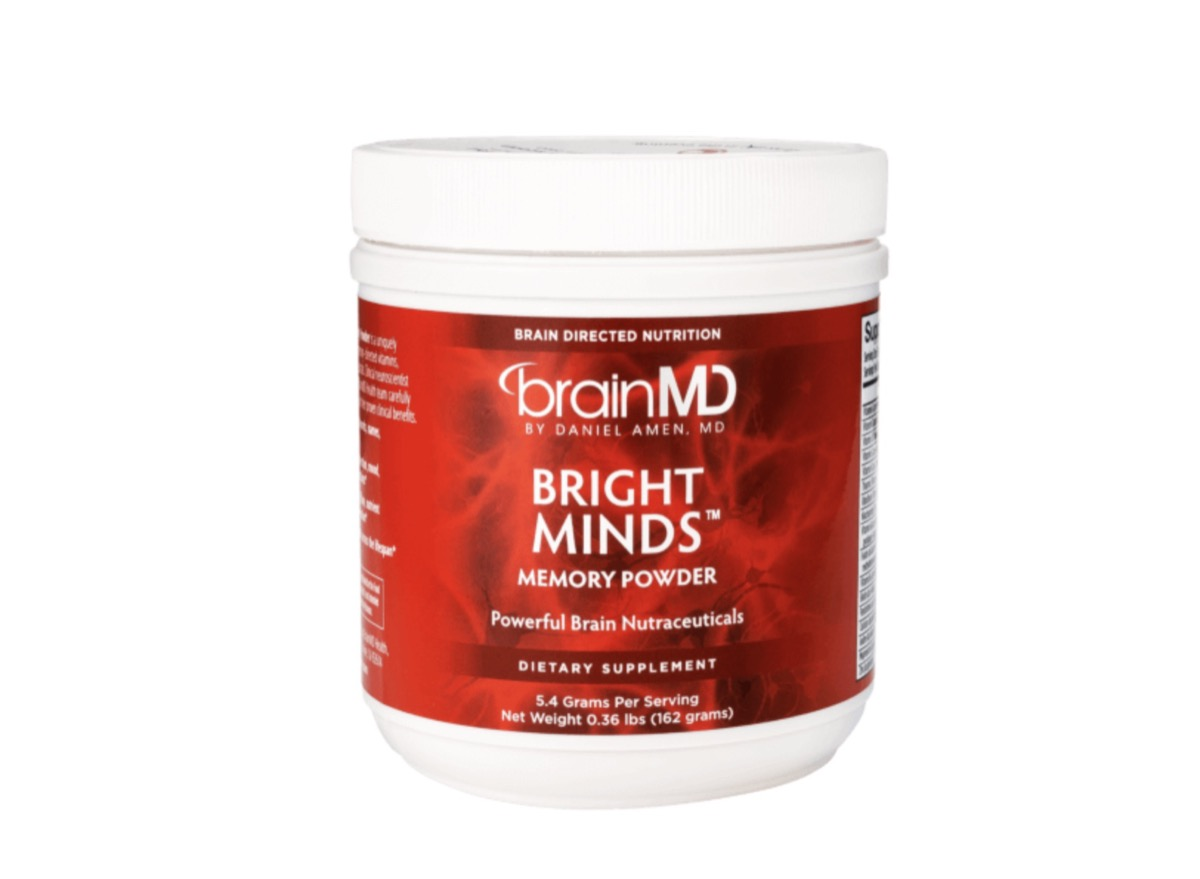 white jar of bright minds supplement with red label