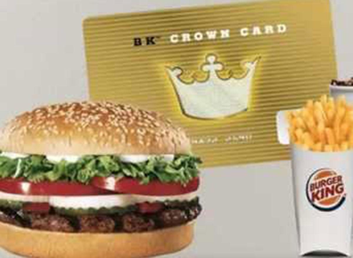 burger king crown card
