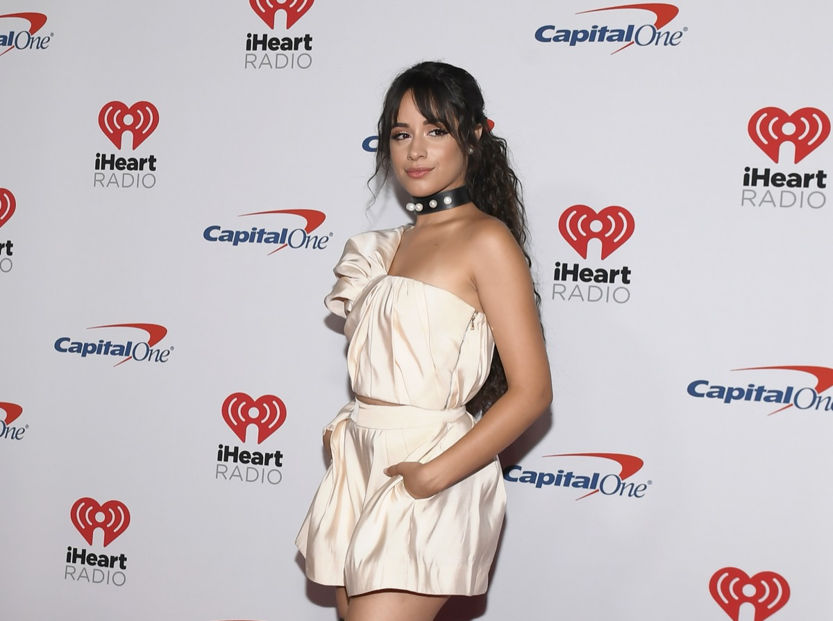 camila cabello in pink romper on red carpet