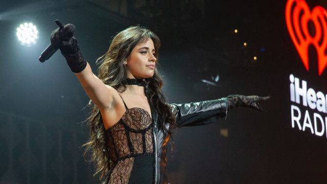 camila cabello on stage in lace bustier