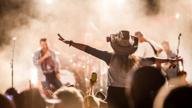 Music festival crowd excitement