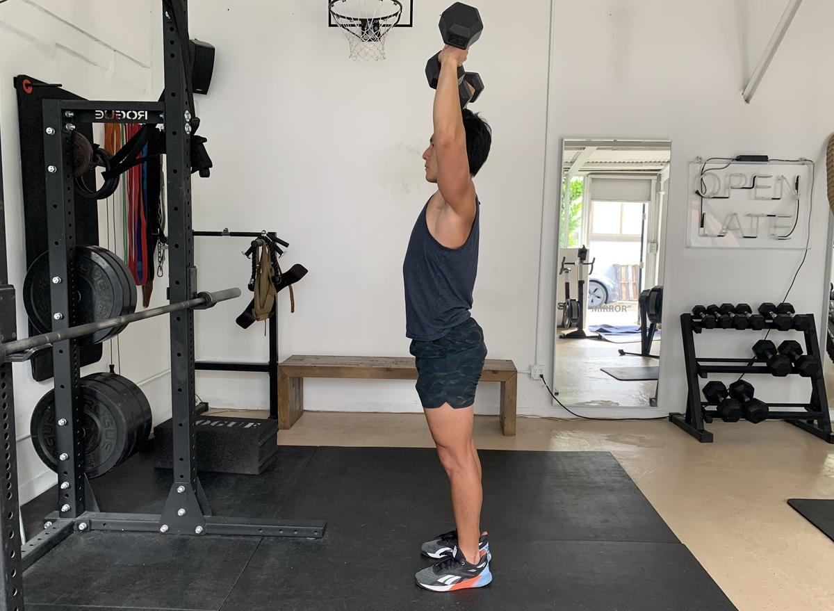how to do overhead dumbbell arnold press