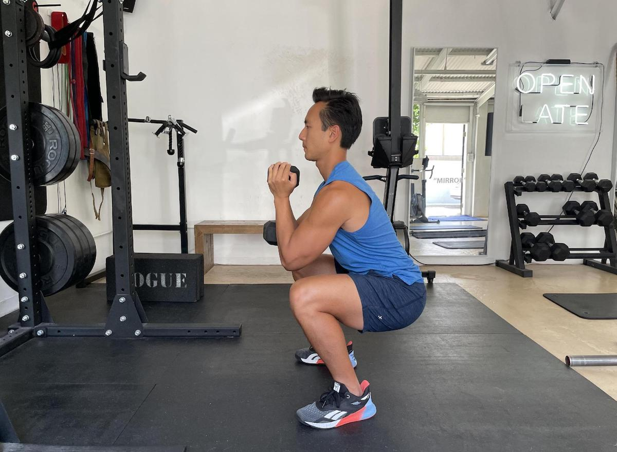 how to do a dumbbell squat