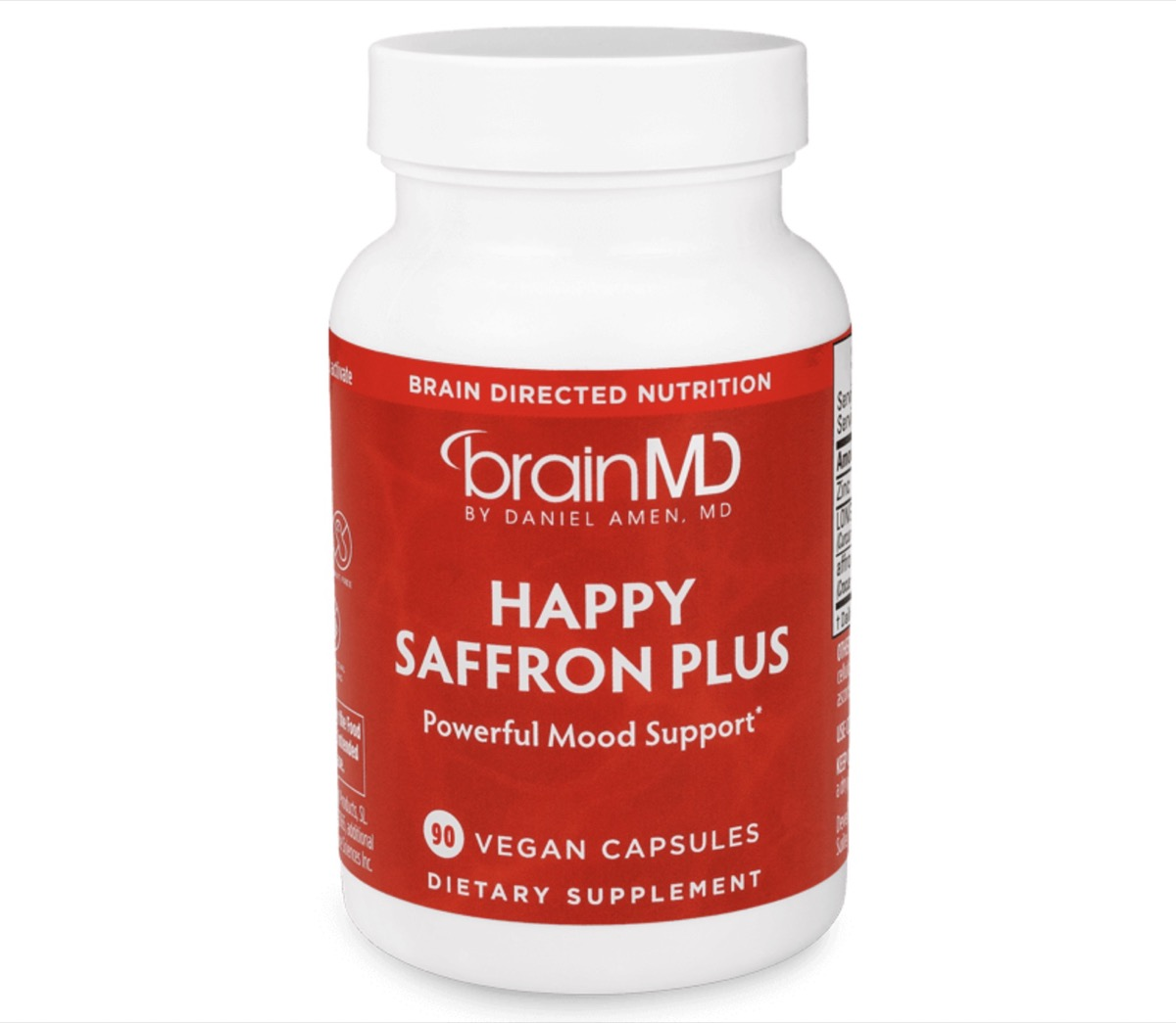 white bottle of brainmd happy saffron plus with red label on white background