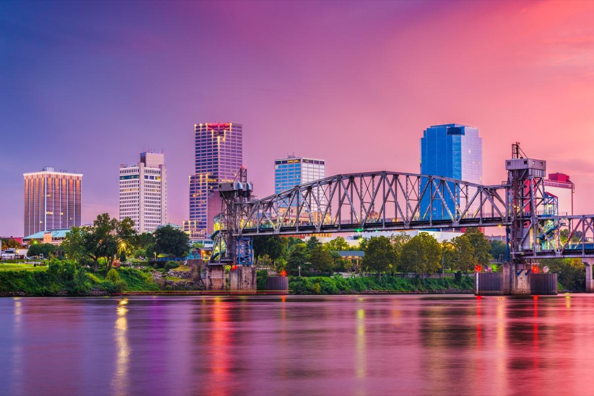 Little Rock, Arkansas, USA skyline on the river at twilight.