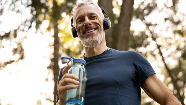 walker listening to music
