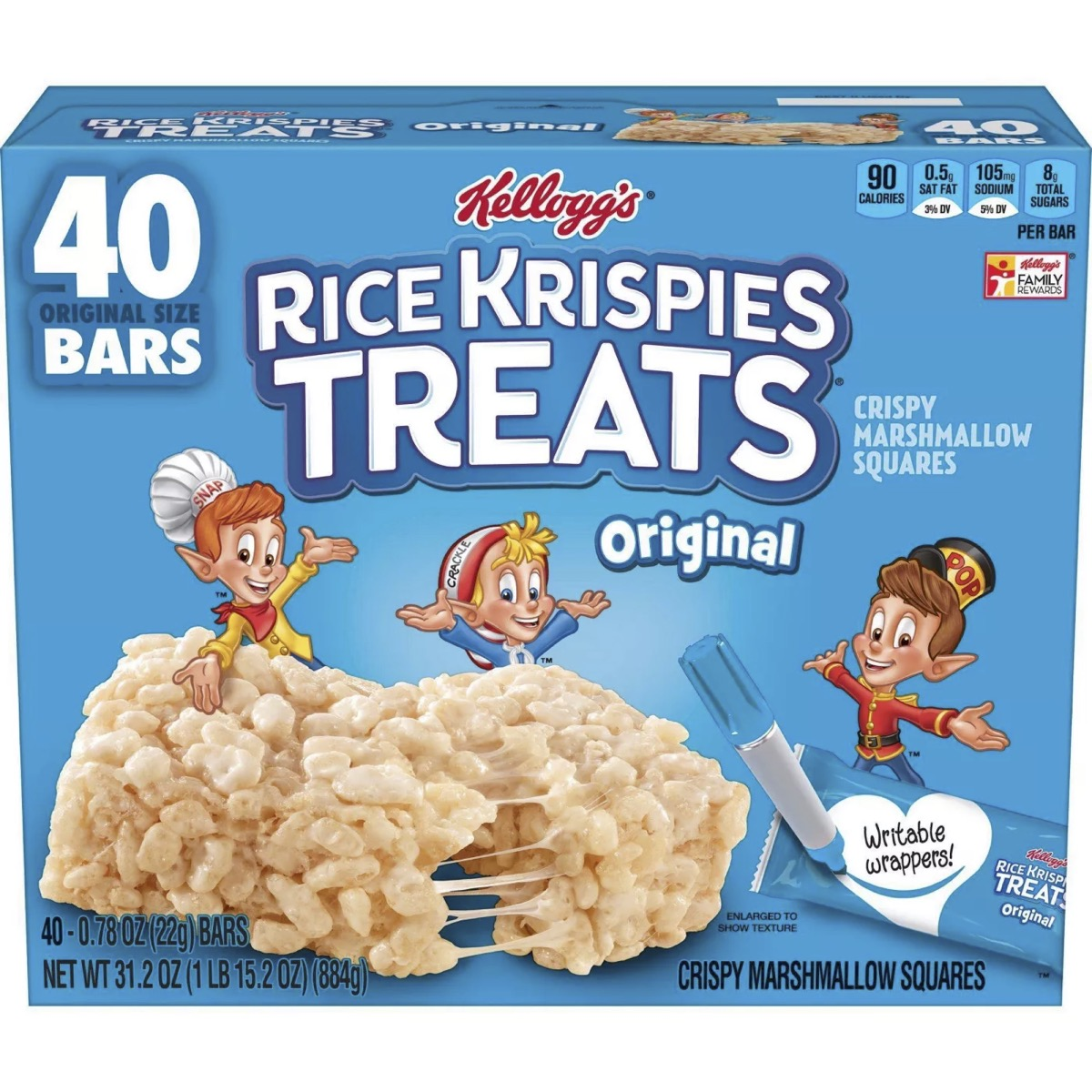 box of rice krispies treats on white background