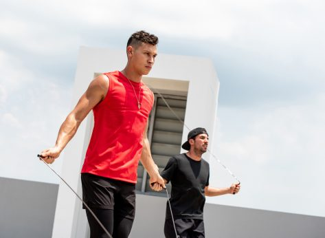 two men jumproping outside hiit workout