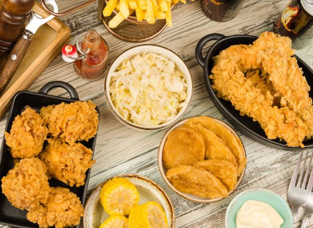 table covered in southern food