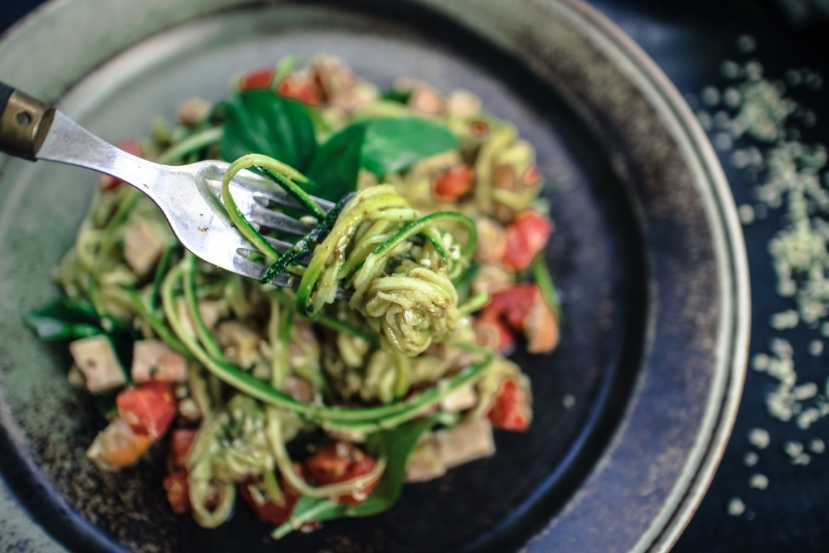 zoodles on fork