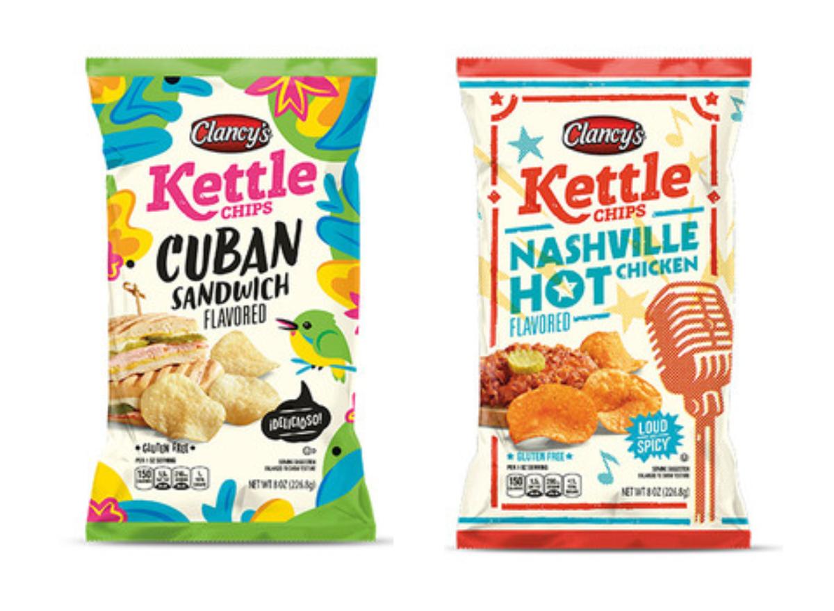 Clancy's Nashville Hot Chicken and Cuban Sandwich Kettle Chips ALDI