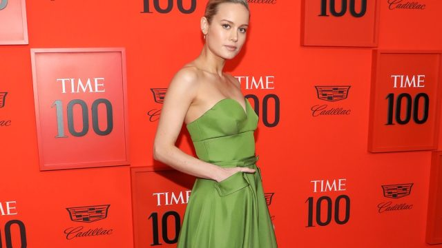 brie larson in green dress on red carpet