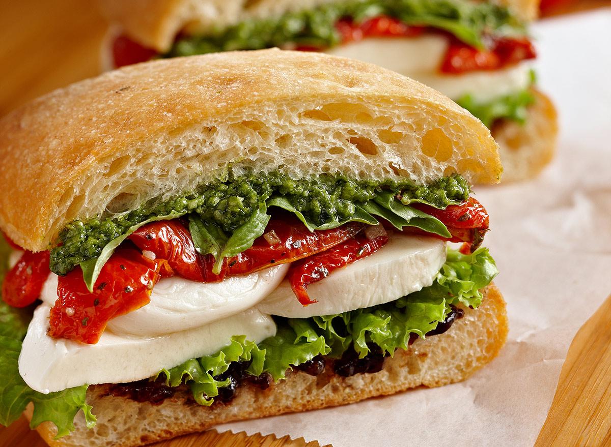caprese sandwich on focaccia