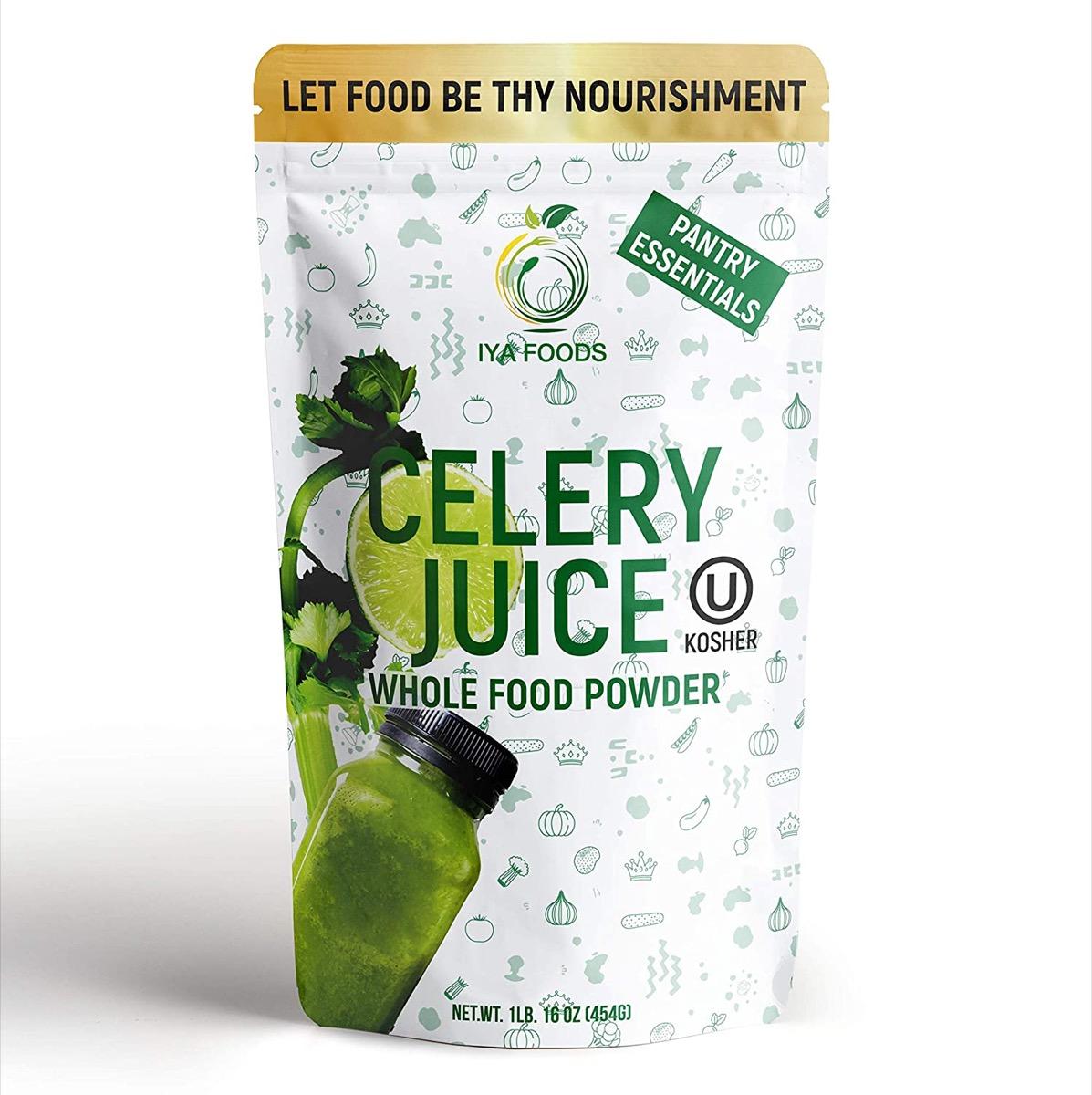 bag of aya celery juice powder on white background