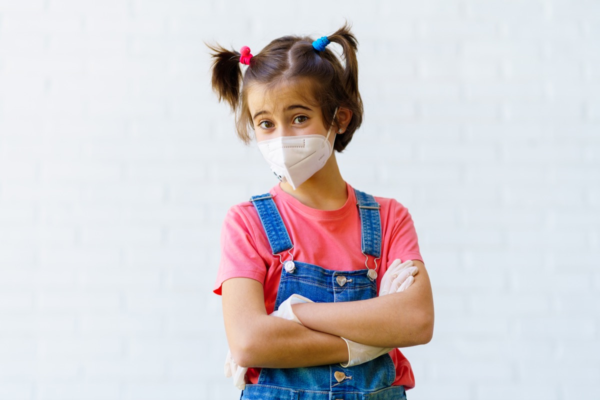 Child girl wearing a protection mask against coronavirus