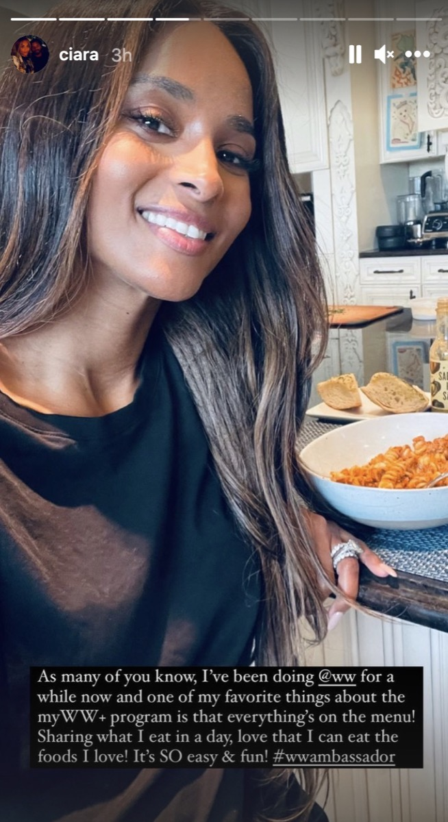 ciara smiling in front of bowls of food in instagram screenshot