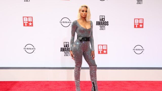ciara in a silver jumpsuit with blonde hair on the BET red carpet