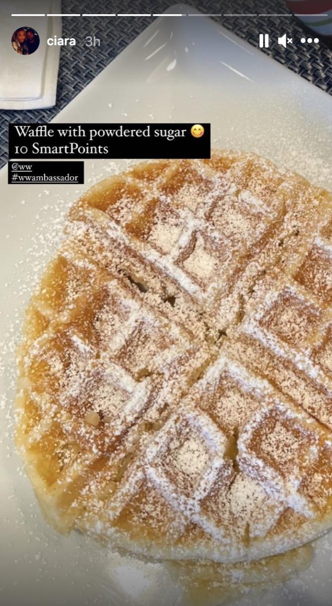 large waffle with powdered sugar