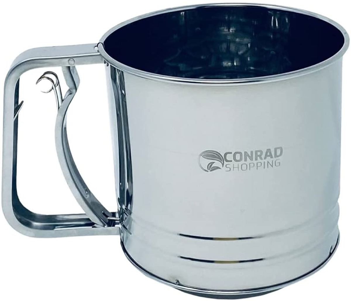 silver flour sifter on white background