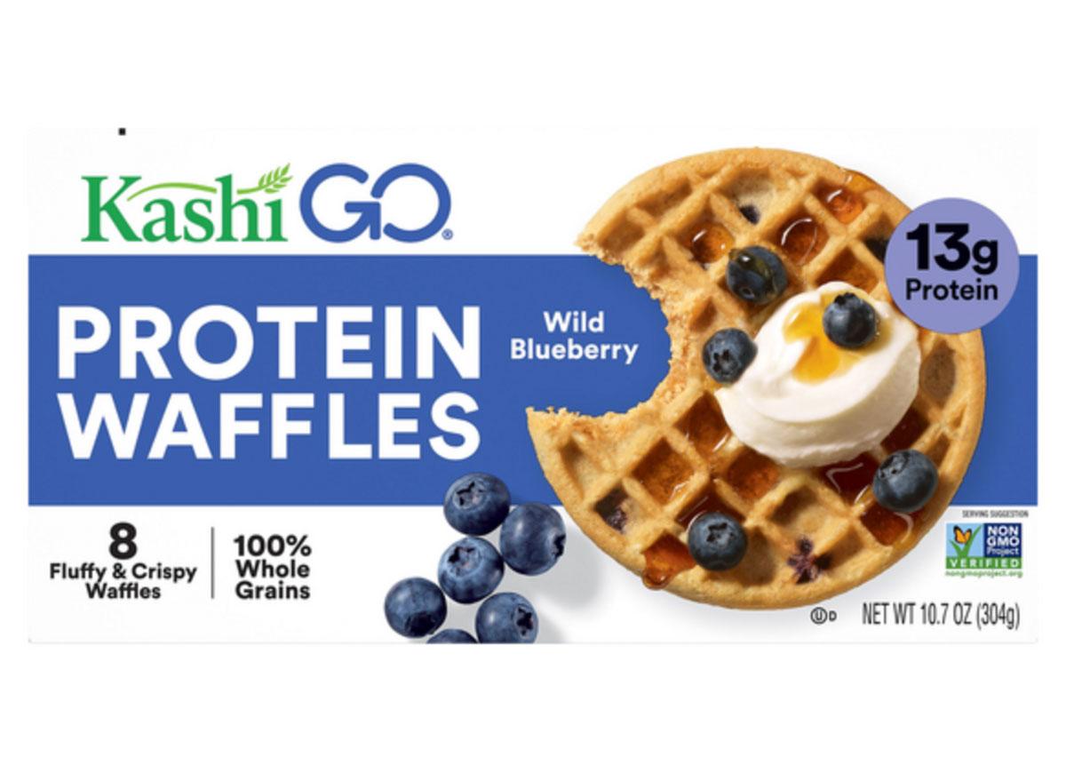 kashi go protein wild blueberry waffles