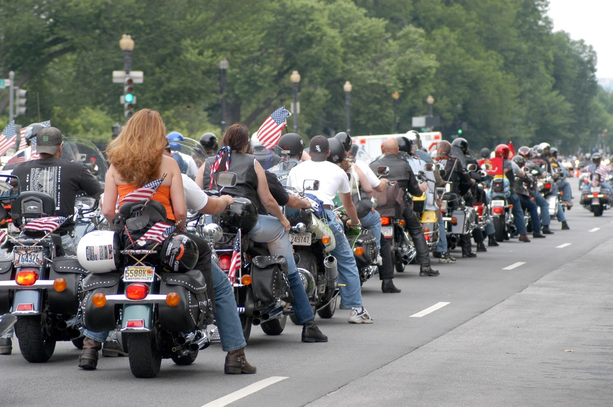 Motorcyclist at rally.