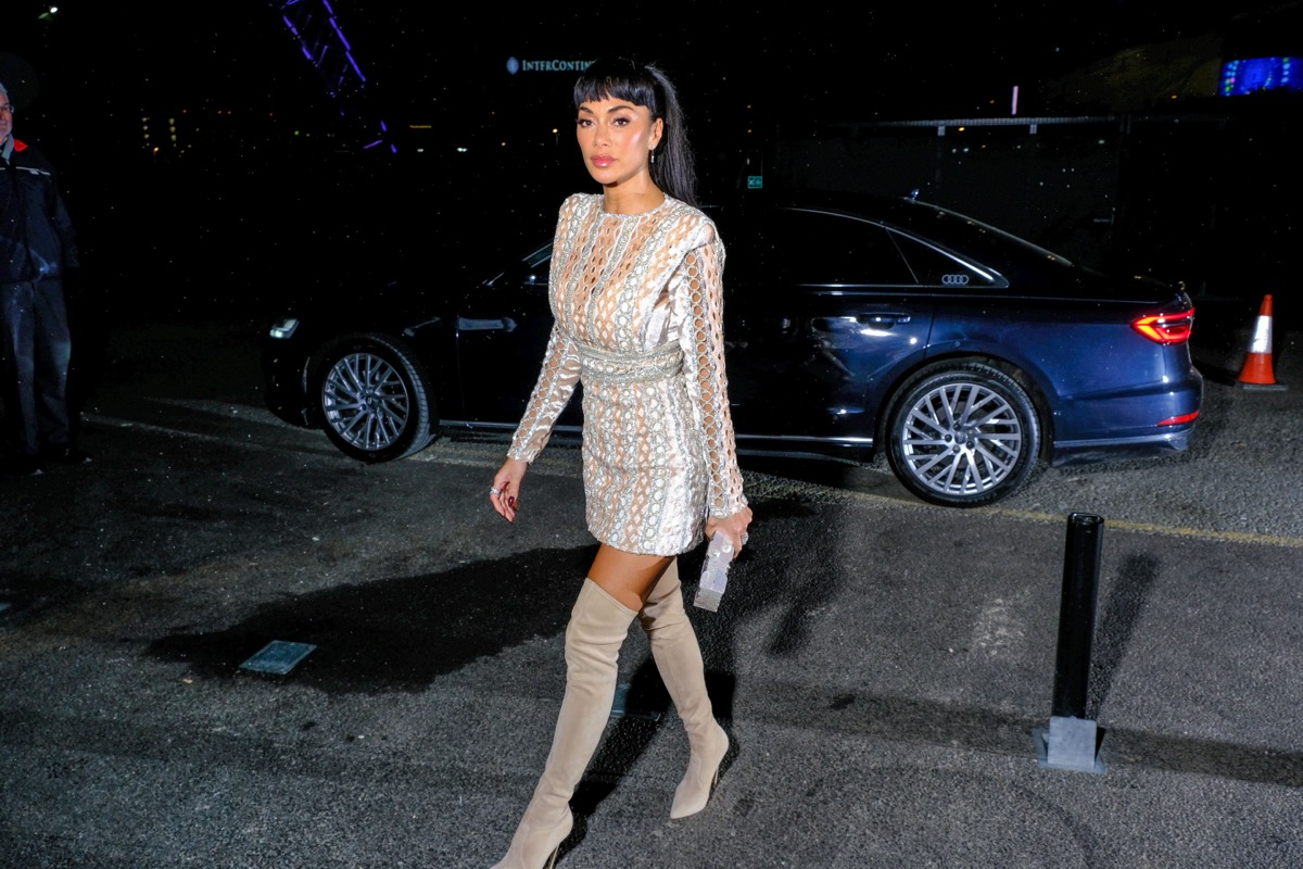 nicole scherzinger in mini dress and over-the-knee boots