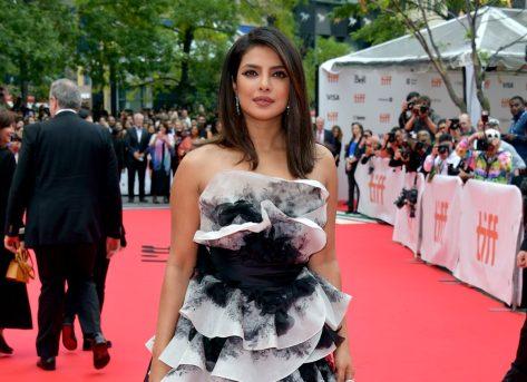 priyanka chopra in black and white ruffled dress on red carpet