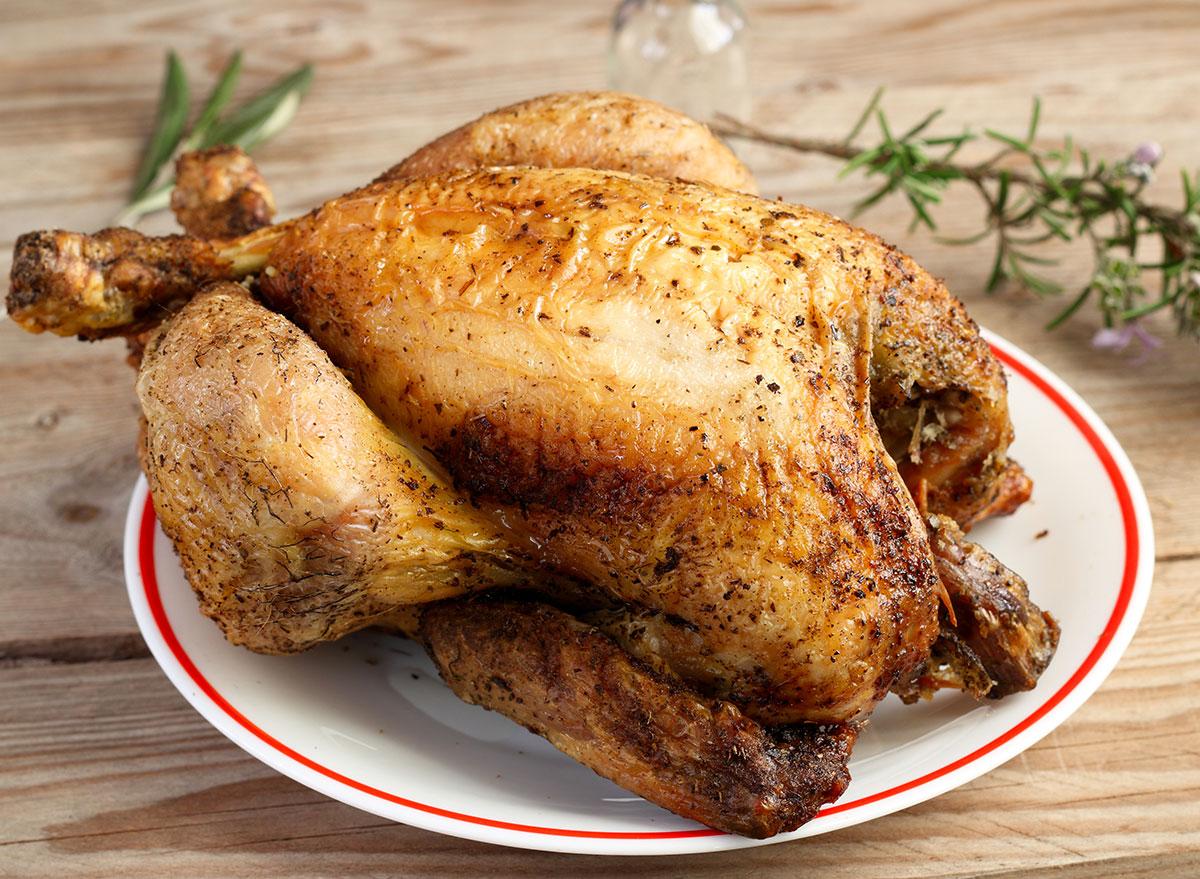 rotisserie chicken on plate