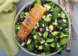 salmon blueberries spinach