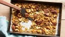 seasoned snack mix in a pan