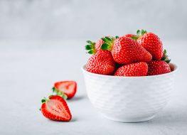 strawberries white bowl