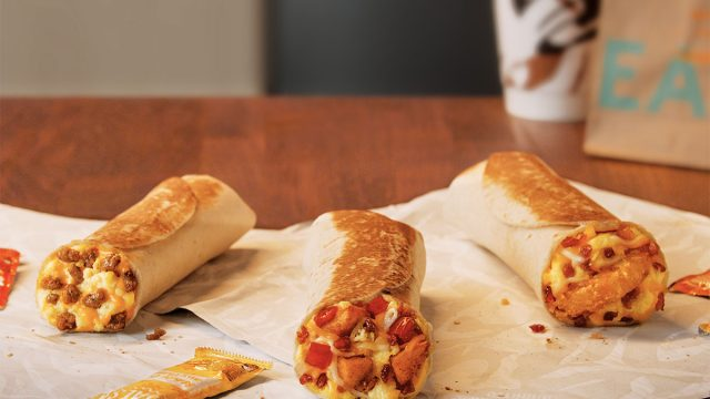 toasted breakfast burrito trio taco bell