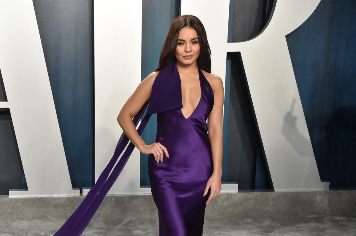 vanessa hudgens in long purple dress