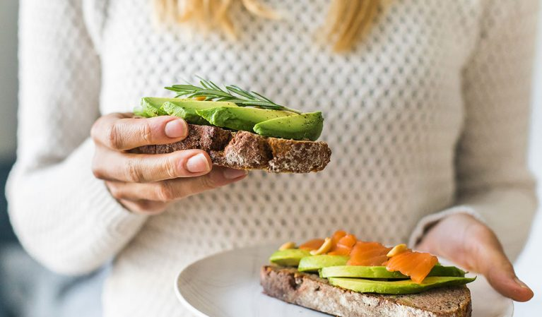 whole wheat avocado toast
