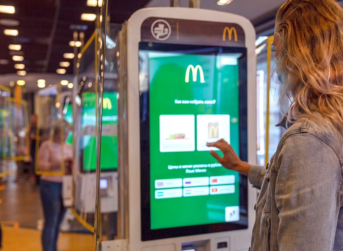 woman ordering mcdonalds