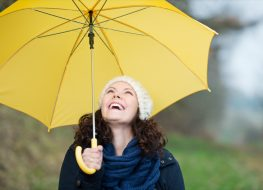 Happy young woman in winter clothes holding yellow umbrella in park