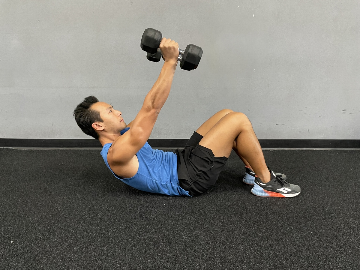 double dumbbell crunch
