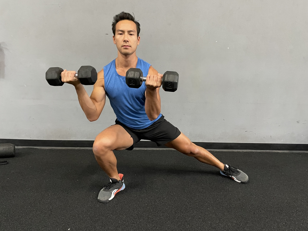Dumbbell lateral lunge and curl