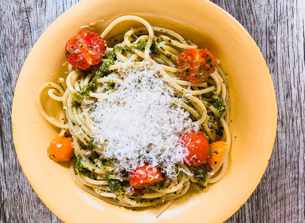 basil pesto pasta with fresh parmesan cheese