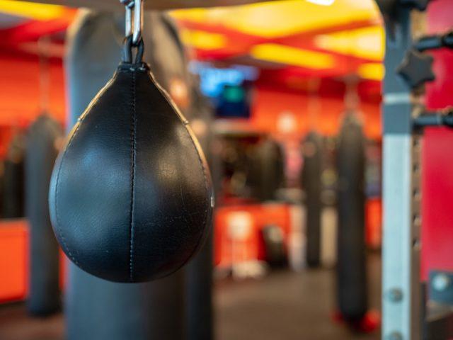 black speedbag in boxing gym