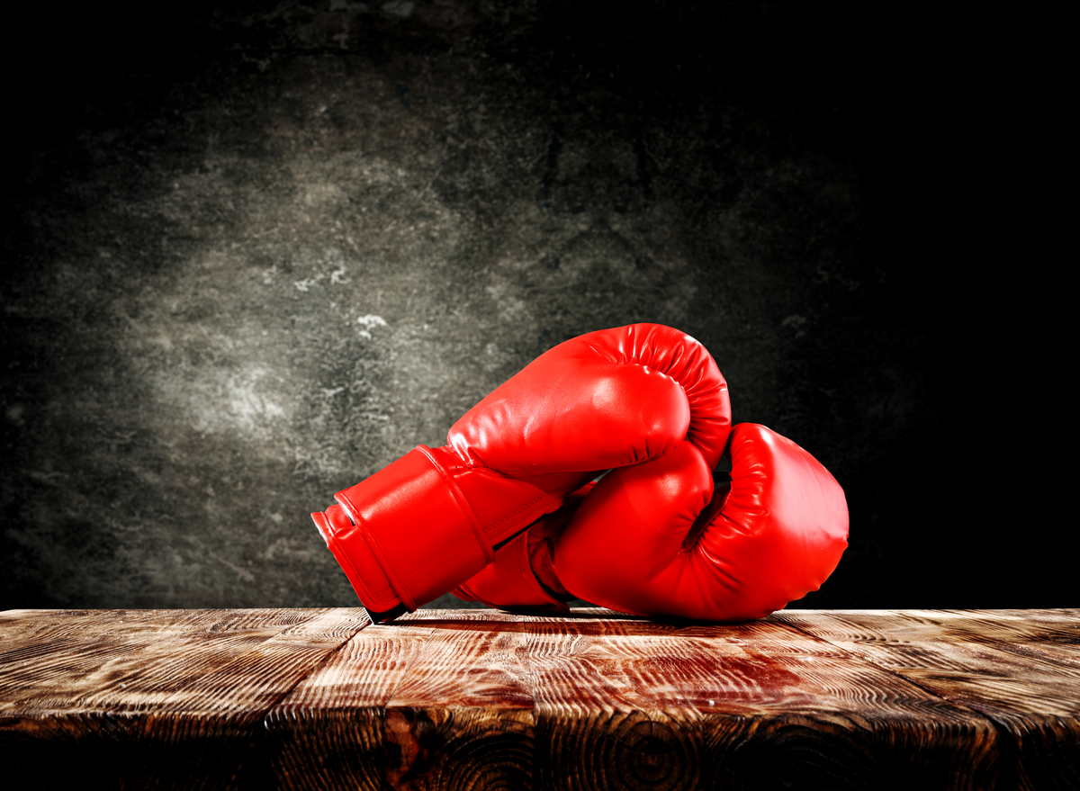 boxing gloves red on floor