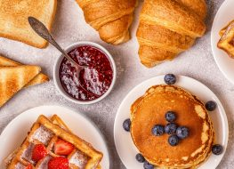 breakfast foods jam bread pancakes toast pastires