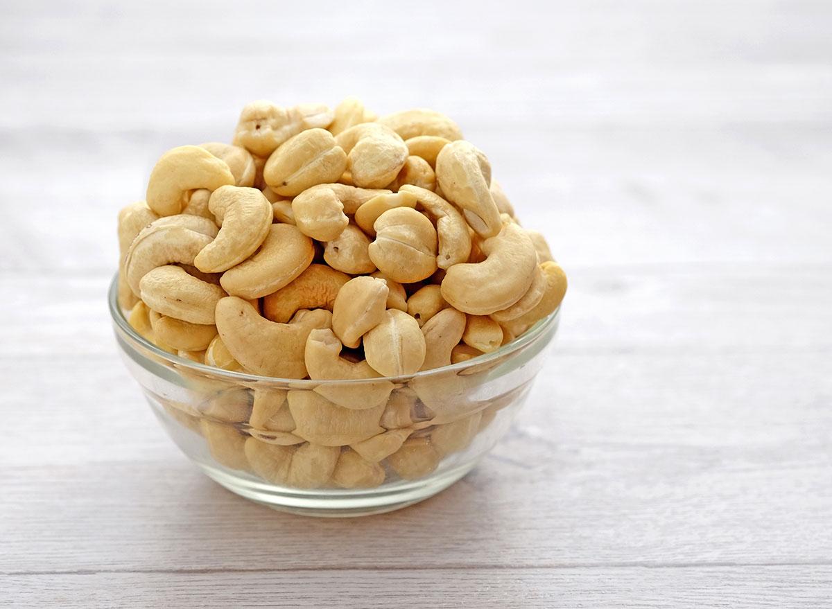cashews glass bowl